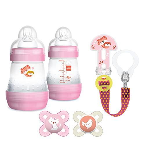 MAM Starter Set, cadeau de naissance, ensemble de biberon avec 2 biberons Easy Start Anti-Colic, 2 sucettes Easy Start et attache-sucette Clip it, kit bébé 0-2 mois, rose