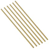 Swpeet 6Pcs 1/10 Inch Brass Solid Round Rod Lathe Bar Stock Kit, Diameter 3mm Length 300mm, Perfect...