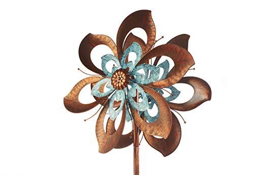 Kobolo Windrad Gartenstecker Dekostecker Windspiel XXL Flower aus Metall groß