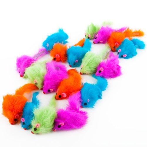 Spot Lot de 24 jouets pour chat en peluche arc-en-ciel avec herbe à chat