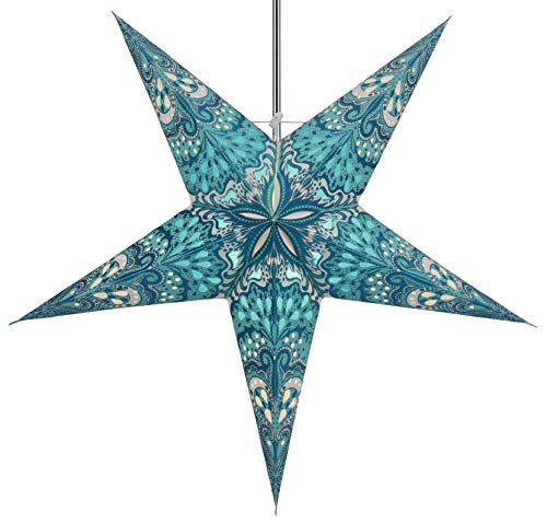 Guru-Shop Estrella de Papel Iluminada de Adviento Plegable, Poinsettia 60 cm - Néstor Turquesa/verde, Estrellas de Papel - Multicolor