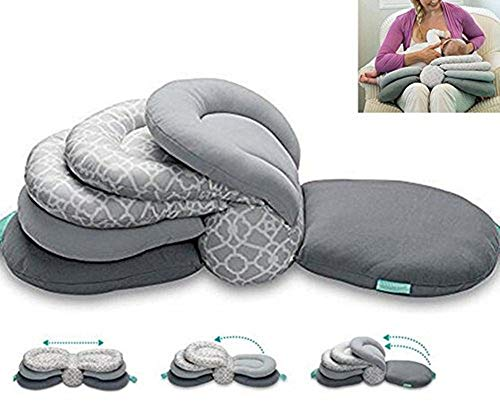 Baby Breastfeeding Pillow Nursing Pillow,Best for Mom,Adjustable Height (Gray)