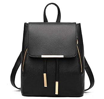 B&E LIFE Fashion Shoulder Bag Rucksack PU Leather Women Girls Ladies Backpack Travel bag  Black