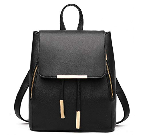 B&E LIFE Fashion Shoulder Bag Rucksack PU Leather Women Girls Ladies Backpack Travel bag (Black)
