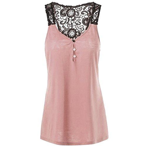 Topkal - Camiseta de manga larga para mujer con blusa de puntas, para verano, cómoda, con botones Rosa. XL