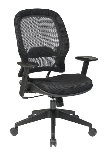 SPACE Seating Professional AirGrid Back and Mesh Seat, 2-to-1 Synchro, Adjustable Arms and Tilt Tension Task Chair, Dark Grey