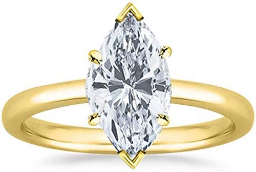 JewelsForum 1.00 Quilates Solitario Corte Marquesa Diamante Natural Anillo De Compromiso De Oro De 14K Anillo De Boda Con Sello Certificado (Color Hi, Claridad I1 / I2) (Oro Amarillo)