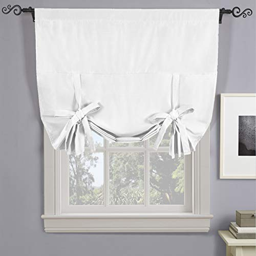 Royal Hotel Soho White Tie Up Shade, Blackout Window Curtain Panel, Rod Pocket Tie Up Shades, Solid Pattern, 42x63 inches