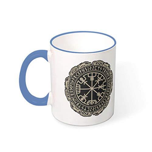 OwlOwlfan Viking Vegvisir - Taza de café personalizada, con mango para café, bar, cumpleaños, festival, regalo para familiares y amigos, acero azul, 330 ml