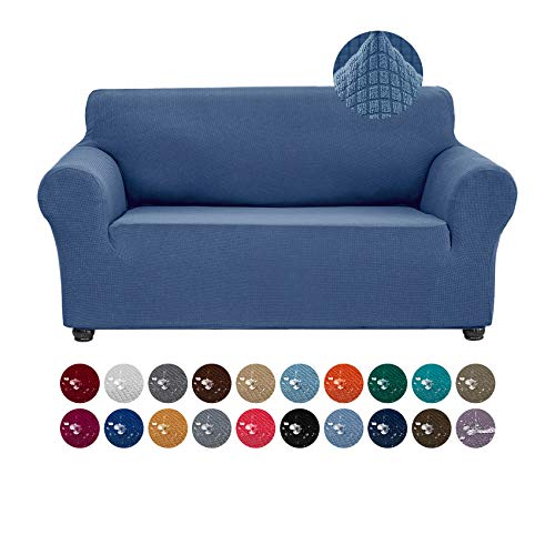 Joccun Stretch Loveseat Couch Cover Slipcover, 1-Piece Water Repellent Sofa Cover for 2 Cushion Couch Spandex Jacquard Washable Furniture Protector Cover for Living Room,Kids,Pets(Loveseat,Riverside)