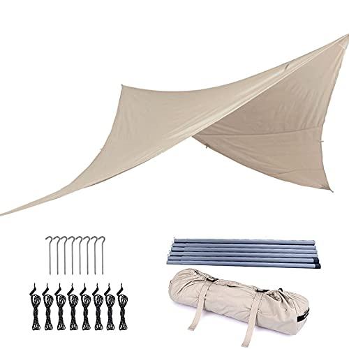 Tienda de Campaña Tarp Impermeable Refugio, Lona Suelo Camping Anti-uv con Palo de Aluminio y Clavos de Carpa para Senderismo Mochila Acampar Picnic Playa al Aire Libre,#1,Suitable for 3m tent