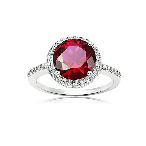 Ice Gems Sterling Silver Simulated Ruby and Cubic Zirconia Round Halo Ring, Size 10