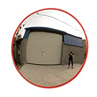 TTWUJIN 屋外交通広角レンズ、凸状安全鏡、広角円運動安全鏡凸状道路鏡、オレンジ盗難防止鏡、ガレージおよびドライブウェイパーク安全ミラー,30Cm