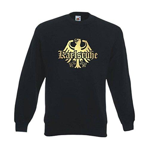 Fun T-Shirt Sweatshirt Karlsruhe Meine Heimat Meine Liebe, edel bedruckter schwarzer Herren Städte Pullover mit Rundhals auch Übergrößen (SFU08-17c) L