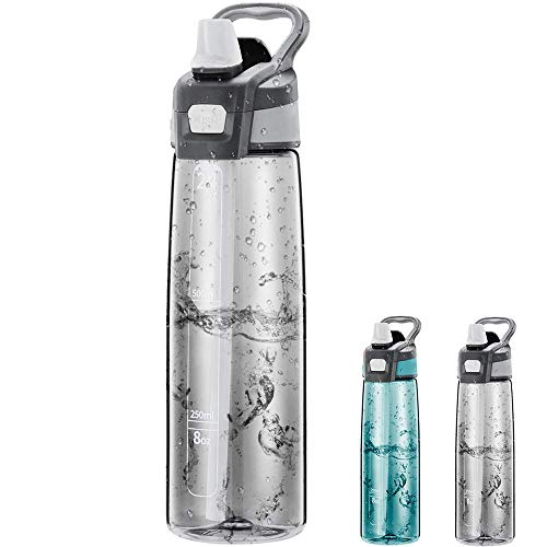 Newdora Borraccia Sportiva Senza BPA 750ml/24oz, Bottiglia Acqua a Prova di perdite con Una Spazzola per la Pulizia, Borracce per Corsa, Bambini, Scuo