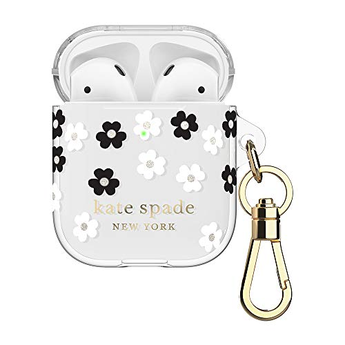 kate spade new york Scattered Flowers Case for AirPods 2 & 1 - Protective Wireless Charging Cover with Keychain (Front LED Visible)