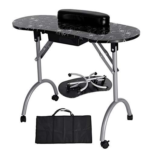 Professional Manicure Table,Portable Folding Salon Nail Station,Manicure Table Work Station,Beauty Manicure Nail Desk,Black,90x40x68 cm