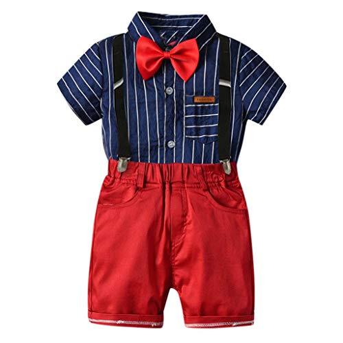 Allence Kinderanzug Jungen Gentleman Anzug Hemd Fliege + Shorts + Gurt dreiteiligen Anzug