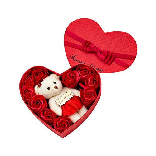 Ruiting Rose Fleur de Savon avec Boîte à Cadeau Coeur Fleur Parfumée 10 Rose de Savon + Ours Décoration de Mariage Cadeau Saint Valentin Fête des Mères Rouge