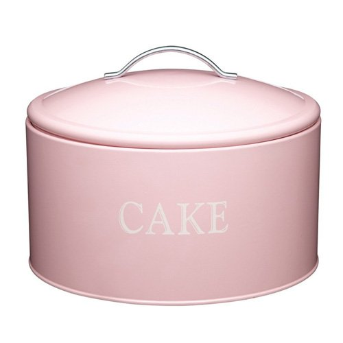 KitchenCraft Sweetly Does It Cake Storage Tin, Extra Large, Vintage Style Design, Pink, 28.5 cm