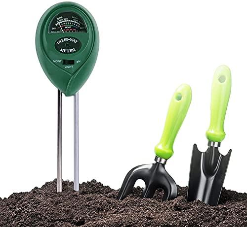 RUTIDA Medidor de Humedad del Suelo, Comprobador de Suelo, Humedad del Suelo 3 en 1 Medidor de pH Medidor de Luz/Ácido y Álcali/Humedad para Jardín Planta Granjas (No Necesita batería)
