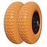 4.80/4.00-8 Tire and Wheel 5/8' Bearing, 16' Flat-Free Wheelbarrow Tire, Foamed Polyurethane Tire for Garden Outdoor Cart Wagon, w/3.5' Hub (Set of 2)
