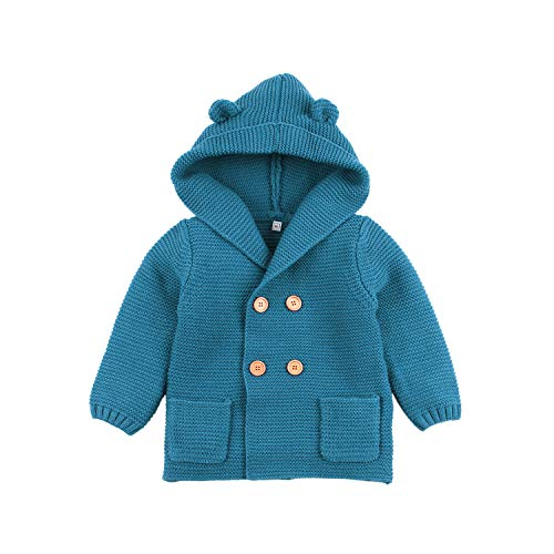 mimixiong Bebé niño de Abrigo Capa Chaqueta otoño Invierno Encapuchados Ropa Caliente(Azul,0-6 Meses)