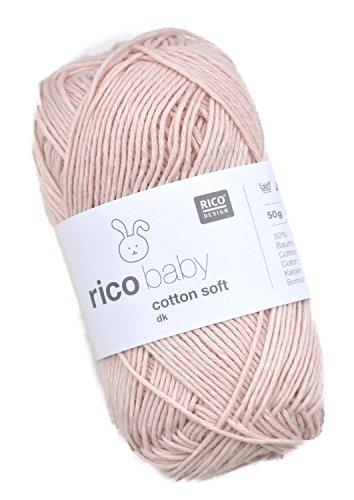 Rico Baby Cotton Soft dk Fb. 046 Puder, weiche Babywolle, Baumwollmischgarn zum Stricken & Häkeln