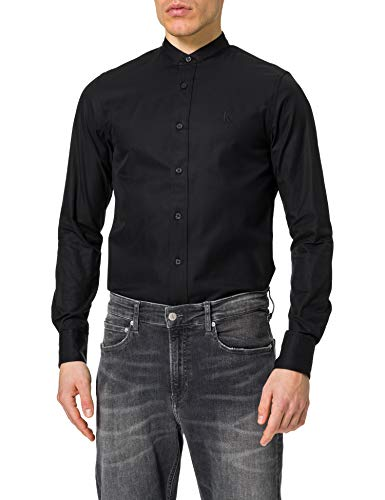 Calvin Klein Stand Collar Slim Shirt Camisa, CK Black, XS para Hombre