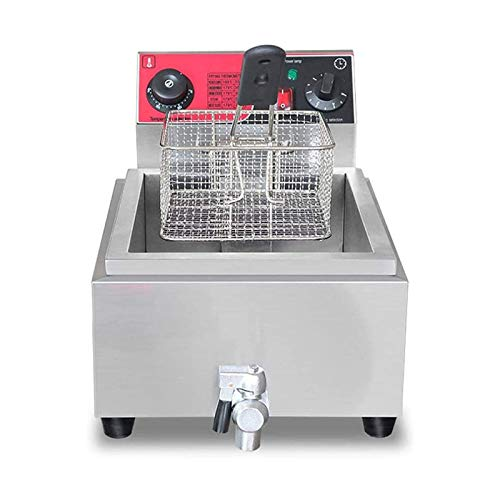 HIZLJJ Freidoras, Freidora profunda eléctrica 8L 2.5kw Freidora de grasa única con filtro de aceite, freidora comercial con función de termostato y temporizador, antideslizante, antideslizante, fácil