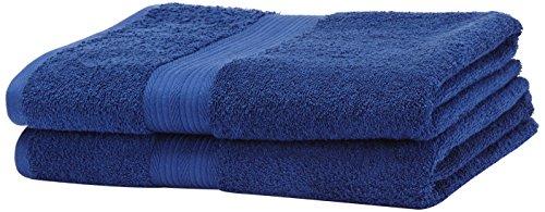 Amazon Basics - Juego de toallas (colores resistentes, 2 toallas de baño grandes), color azulón