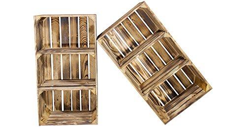 Vintage-Möbel24 GmbH 2er Set hohes Kistenregal mit 3 Fächern - geflammt - Obstkiste flambiert als Schuhschrank, Schuhregal, Bücherregal, Bücherschrank, Holzschrank, Hochschrank aus Holz 68x40x31cm