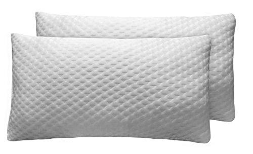Sunlay - Pack de 2 almohadas viscoelásticas de copos con funda de diseño texturado, 35x90cm (Todas las medidas)