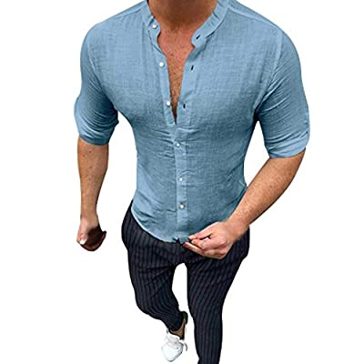 JustWin Men's Fashion Solid Color Cotton Shirt Summer Fashionable Pure Button Shirts Comfortable Tight Top