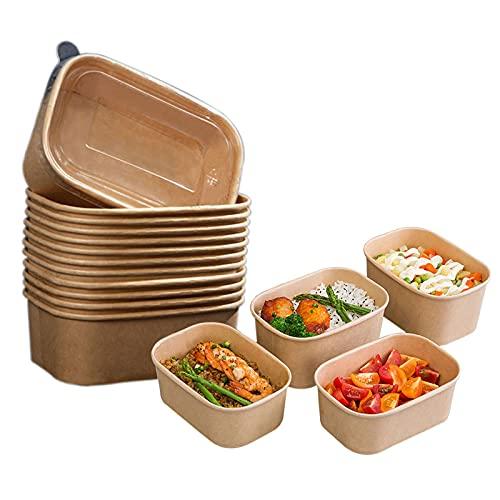 Cuencos rectangulares desechables de papel kraft extra resistente, para sopa de Burrito, recipientes Togo con tapas transparentes, 50 unidades (500 ml, 50 unidades)