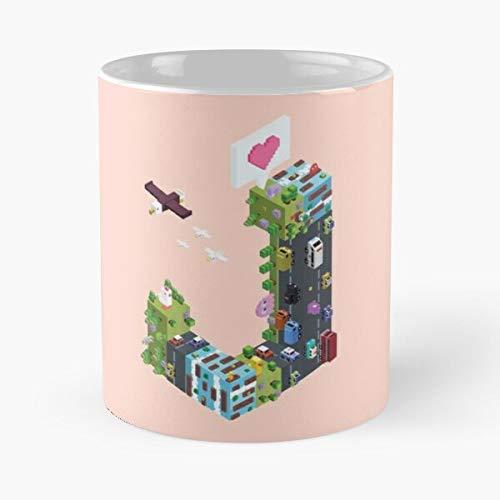 Play Fun - Taza de café de cerámica de 325 ml con diseño de personaje extra, color adorable, con texto en inglés 'Comer mordedura'