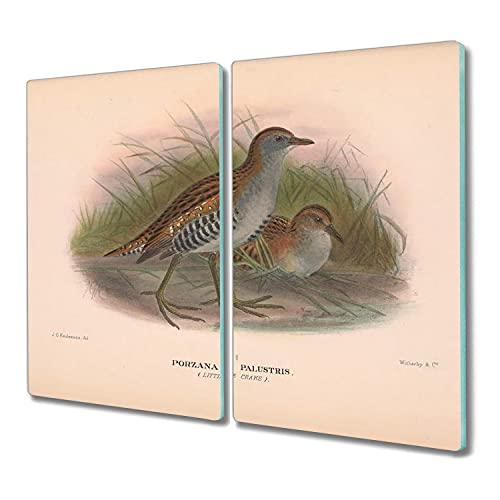 Coloray 2x30x52 madera para cortar tabla de cortar Vidrio Placa de tabla protector induccion tablero de vidrio para la cocina - animales Pájaros