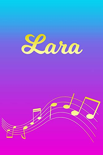 Lara: Sheet Music Note Manuscript Notebook Paper – Pink Blue Gold Personalized Letter L Initial Custom First Name Cover – Musician Composer Instrument … Notepad Notation Guide – Compose Write Songs