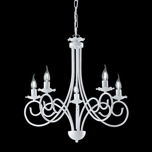 Lámpara provenzal de candelabro blanco Shabby Alma 5 luces