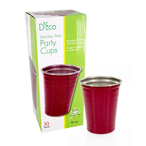 Reusable Party Cups - 16 Ounces (10 Pack) - Stainless Steel Red Solo Cups, Beer Pint Tumblers