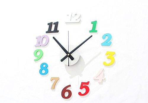 CivilWeaEU- Bricolage Amusant Horloge Mode Créatif Mur de la Montre Couleur numérique combiné Horloge muet