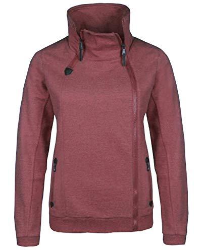 Sublevel . Damen Zipperjacke Sweatjacke Übergangsjacke modern und stylisch mit Reißverschlüssen in Bordeaux rot meliert XS-XL (S)