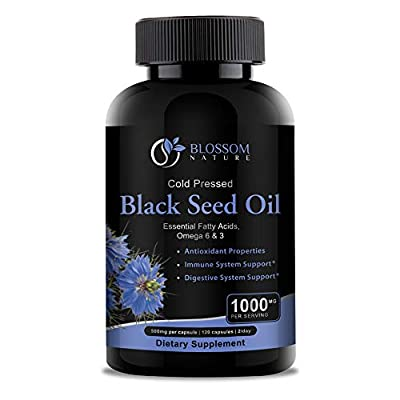 Black Seed Oil 1000mg Supplement-Antioxidant & Anti Inflammatory Support for Heart Health,Immune & Digestive Systems-120 Capsules,500mg per Capsule of Cold Pressed Cumin Seeds Oil from Nigella Sativa
