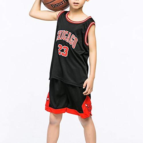 FSBYB Kinder-Trikots Set - Bulls Jordan # 23 Basketball Vest Top Sommer Shorts für Jungen und Mädchen,Schwarz,M