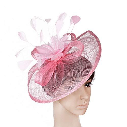 Heqianqian Chapeau Fascinant Bandeau Fascinator Mariage Chapeaux Dames Course Royal Ascot Pillbox De Mariage Cocktail Thé Party Derby Chapeau pour Les Femmes Pince à Cheveux de Mariée (Color : Pink)