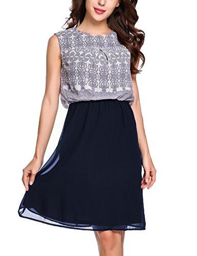 Zeagoo Damen Chiffon Kleid Rundhals Knielang Cocktailkleid Sommerkleider Ärmellos mit modischem Muster Blau M