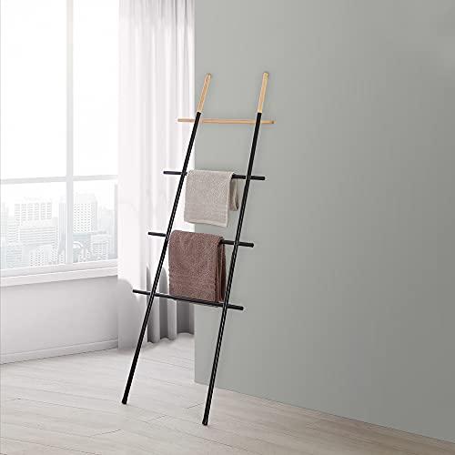 Scala Porta Asciugamani Moderna H 170 cm, realizzata in acciaio e particolari in bambù, 4 ripiani (Nero)