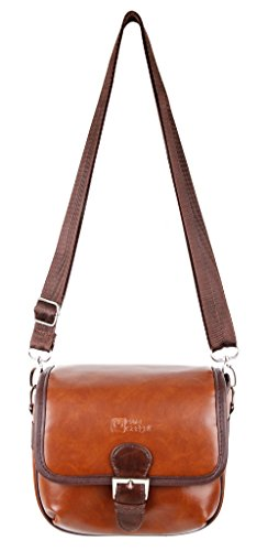 DURAGADGET Small Brown PU Leather Satchel Carry Bag - Compatible with Yaufey 1000 Lumens Mini Pico Projector C800