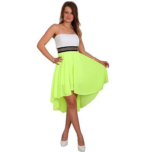 Moda Italia Chiffon Kleid Vokuhila Bandau Spitze Strass Cocktailkleid Partykleid Zweifarbig (34-38, Neon Gelb)