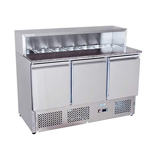 Banco pizza refrigerato con piano in granito e vetrina portacondimenti (Gn 1/6). Cm. 140 - Cm. 136,5x70x97H.